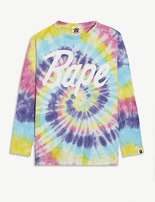 A BATHING APE Logo-printed tie-dye cotton top 5-8 years