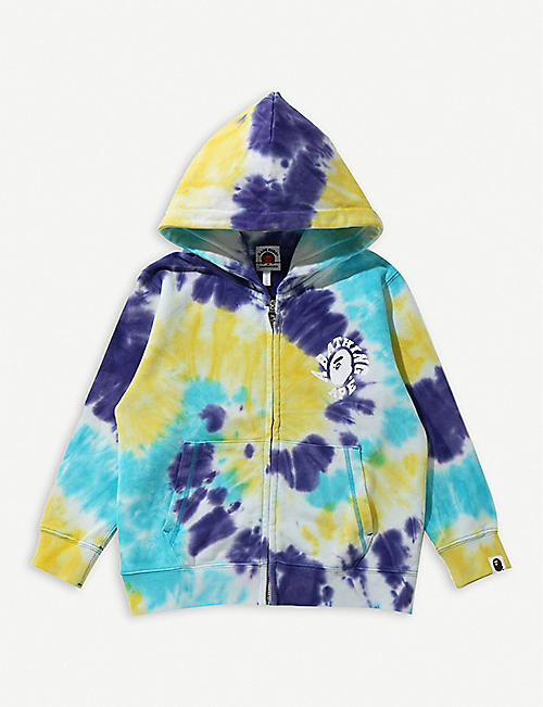 A BATHING APE: Tie Dye College cotton hoody 3-4 years