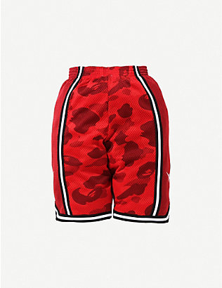 A BATHING APE: Camo Basketball woven shorts 8-10 years