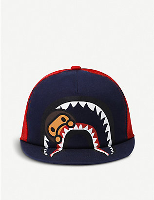A BATHING APE: Kids Milo shark-print cotton and mesh cap