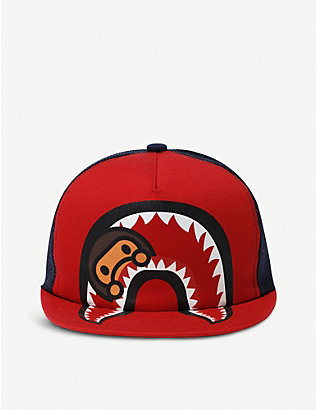 A BATHING APE: Kids Milo shark-print cotton and mesh cap 3 years