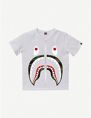 A BATHING APE: Camo Shark cotton T-shirt 4-10 years