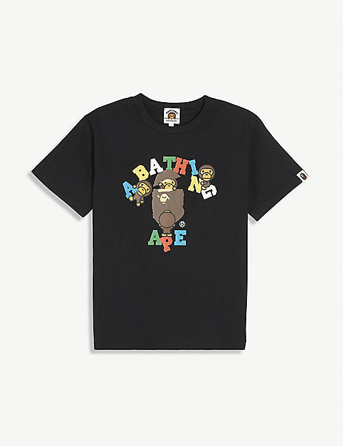 A BATHING APE: Logo-print cotton T-shirt 4-8 years