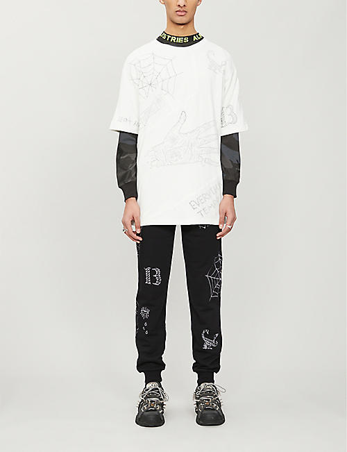 HACULLA Graphic-print tapered cotton-jersey jogging bottoms
