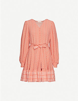 STINE GOYA: Farrow checked woven mini dress