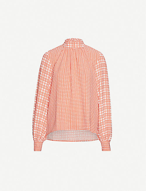 STINE GOYA Eddy plaid-pattern stretch crepe shirt