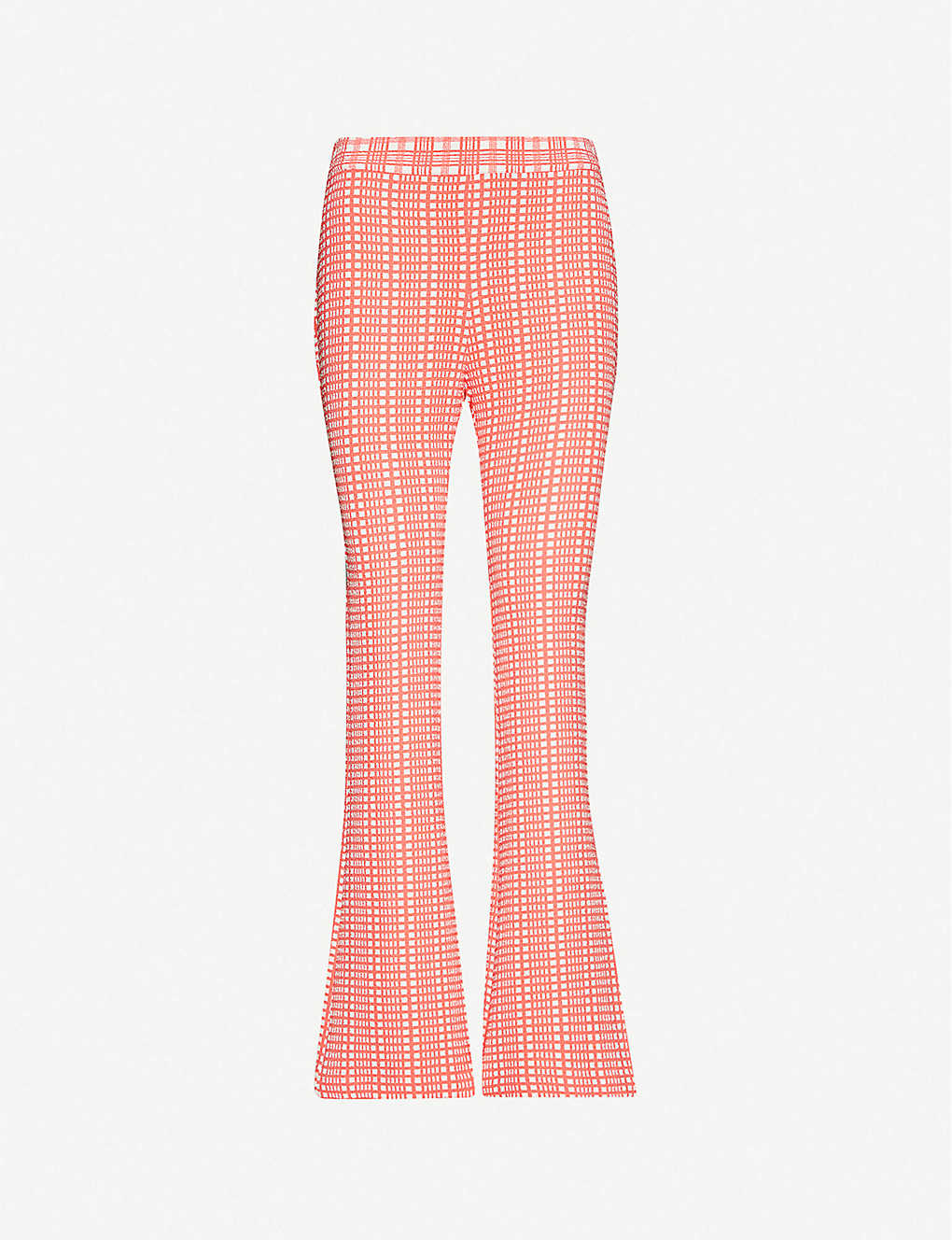 STINE GOYA: Henry checked wide high-rise stretch crepe trousers