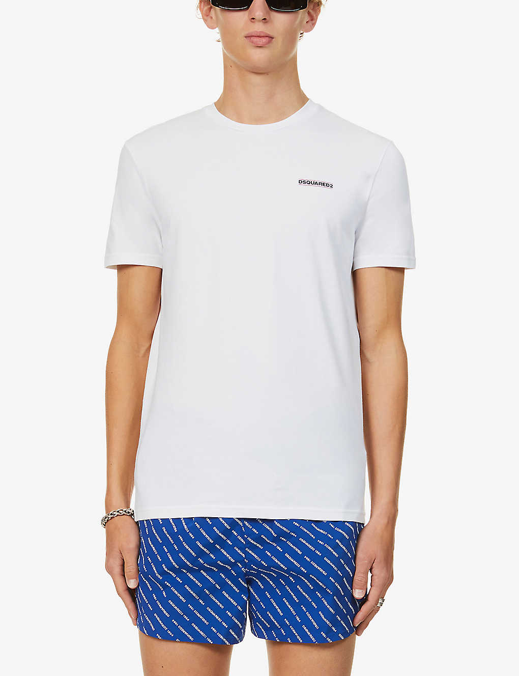 DSQUARED2: Brand-print crewneck stretch-cotton T-shirt