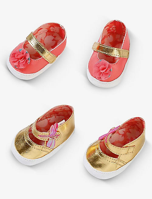 BABY ANNABELL: Floral-print embellished shoes pack of two
