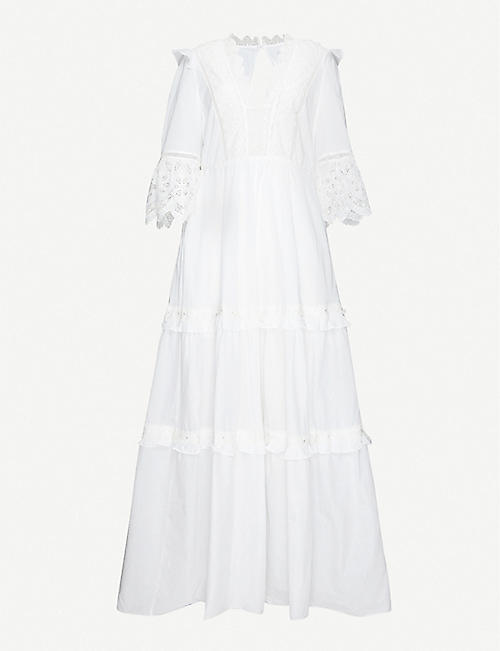 SELF-PORTRAIT: Viole lace-trim cotton-poplin maxi dress