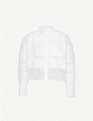 SELF-PORTRAIT: Embroidered and lace-trimmed cotton-poplin shirt