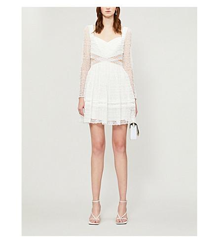 Self-Portrait Mini dresses FRILLED-TRIM WOVEN-LACE MINI DRESS
