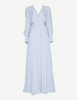SELF-PORTRAIT: Broderie-panelled chiffon maxi dress