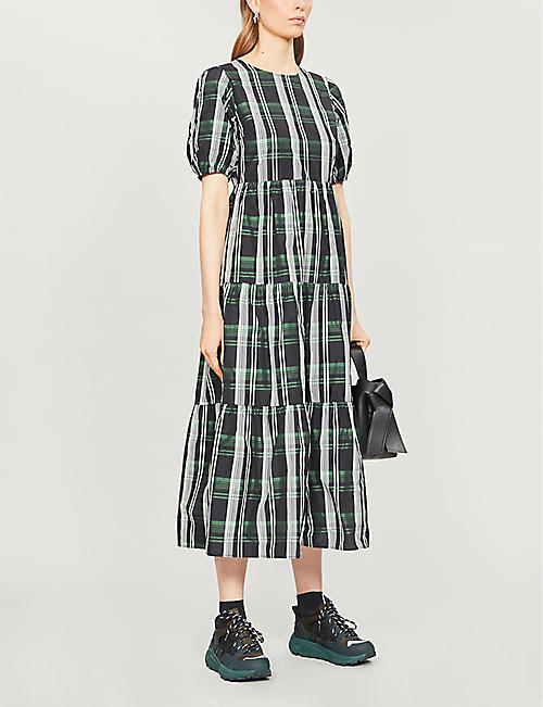 TOPSHOP Checked crepe midi dress