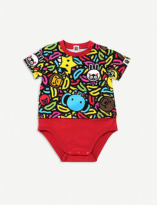 A BATHING APE: Milo banana-print cotton bodysuit 6-18 months