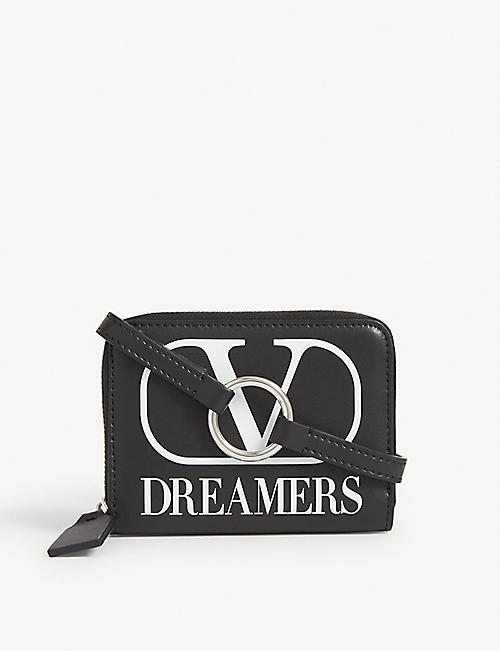VALENTINO Dreamers logo-printed leather neck wallet