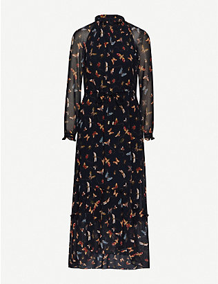 ME AND EM: Insect-print georgette maxi dress