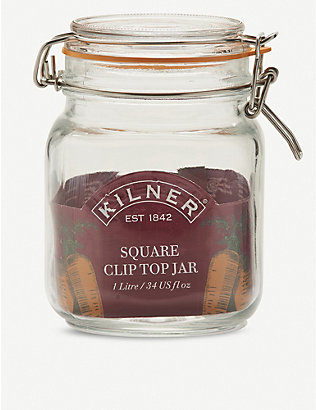 KILNER: Square glass clip top jar 1L