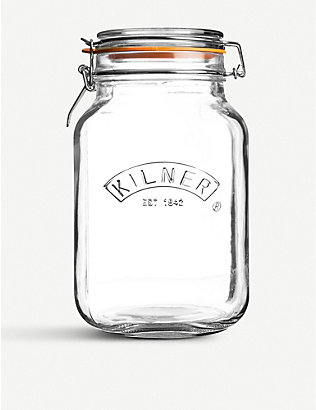 KILNER: Square glass clip top jar 1.5l