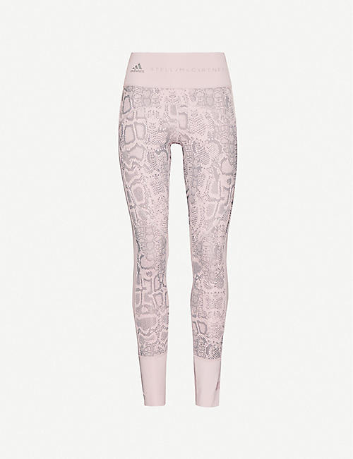 ADIDAS BY STELLA MCCARTNEY: Train Primeblue high-rise animal-print recycled stretch-polyester leggings
