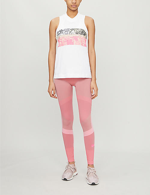 ADIDAS BY STELLA MCCARTNEY Graphic-print sleeveless cotton-jersey T-shirt