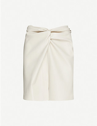 NANUSHKA: Milo knotted faux-leather mini skirt