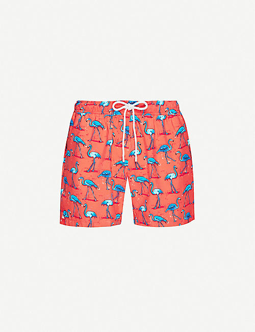 BLUEMINT: Arthus flamingo-print swim shorts
