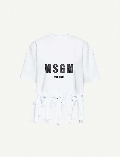 MSGM Knotted-hem cotton-jersey T-shirt