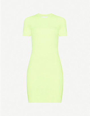 HELMUT LANG: Bodycon knitted mini dress