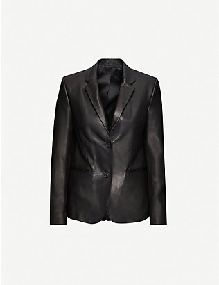 HELMUT LANG: Single-breasted leather blazer