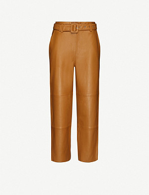GESTUZ Storia straight high-rise leather trousers