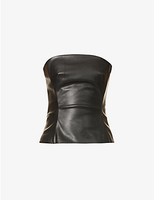 KIMHEKIM: Strapless faux-leather top