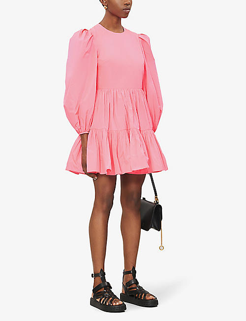 VALENTINO Tiered pleated woven mini dress