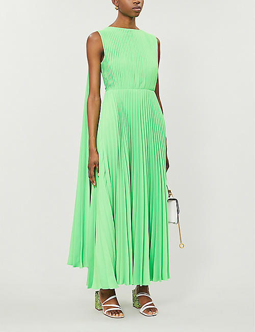 VALENTINO Pleated draped woven gown