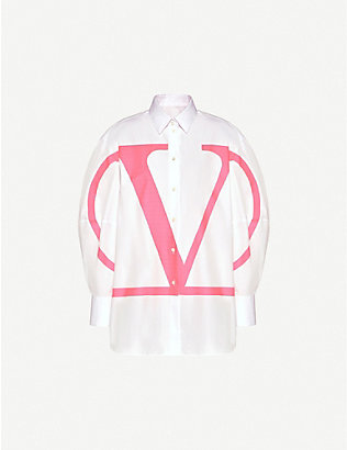 VALENTINO: Balloon-sleeve logo-print cotton shirt