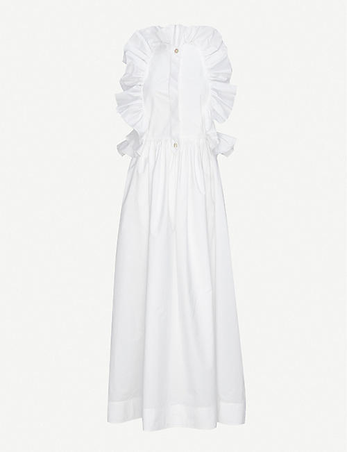 VALENTINO: Ruffled cotton-poplin maxi shirt dress