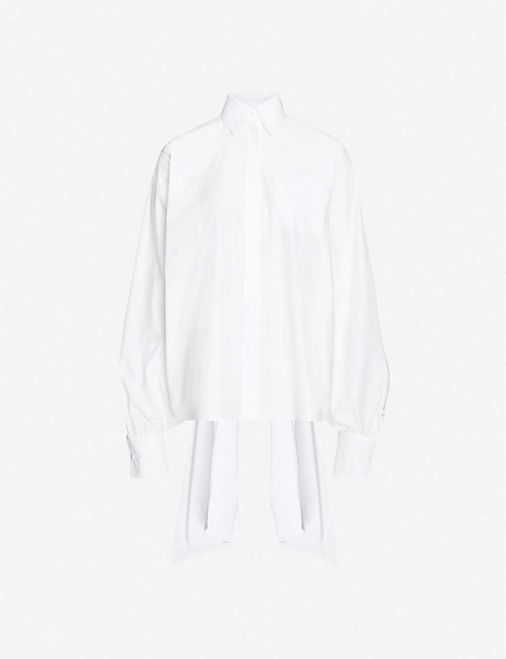 VALENTINO: Gathered loose-fit cotton-poplin shirt