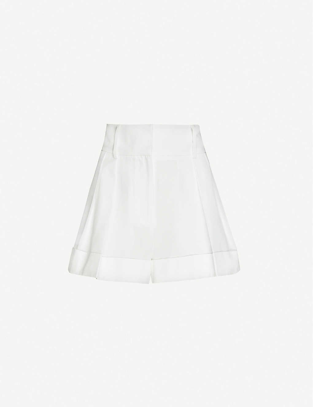 VALENTINO: Pleated high-rise cotton-blend shorts