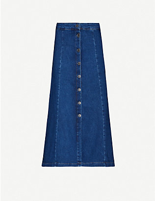 WHISTLES: Button through denim skirt