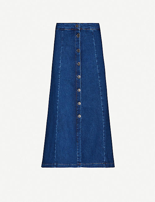 WHISTLES Button through denim skirt