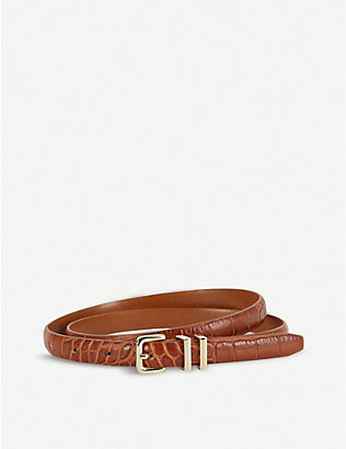 REISS: Lauren croc-embossed leather belt