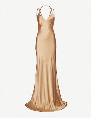 HAIDER ACKERMANN: V-neck silk gown