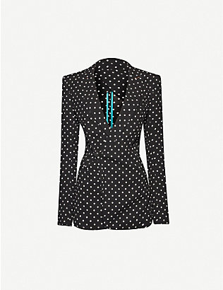 HAIDER ACKERMANN: Polka dot-print double-breasted woven blazer
