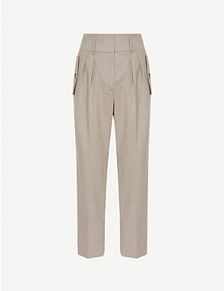 REISS: Marta tapered high-rise stretch-woven trousers