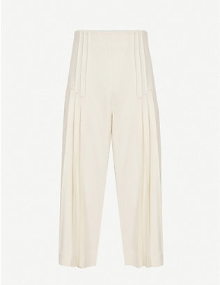 REISS: Aurora pleated wide-leg high-rise woven culottes