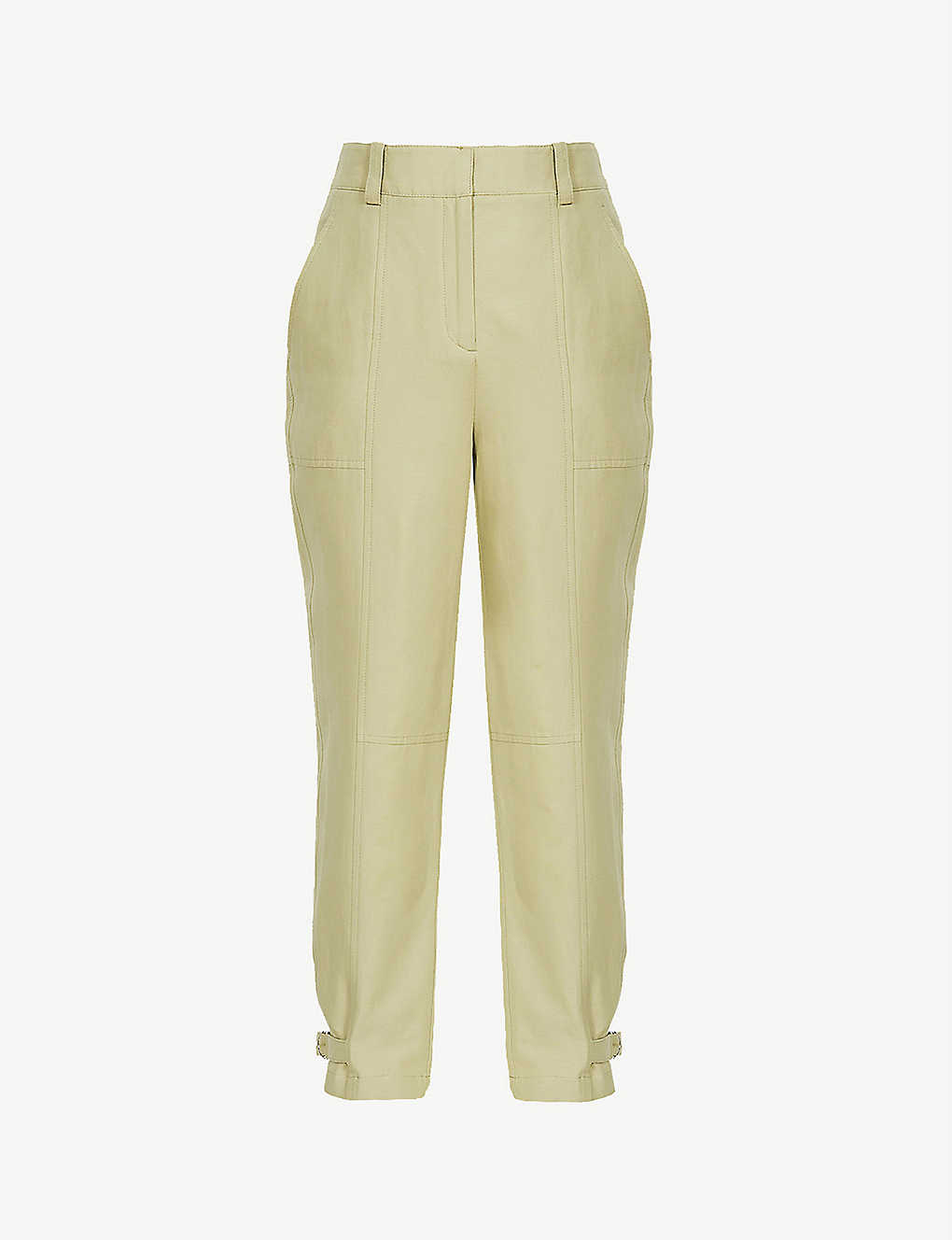 REISS: Eden tapered high-rise cotton and hemp-blend trousers