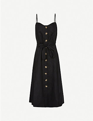 REISS: Catalina button-up linen midi dress