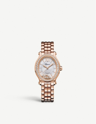 CHOPARD Happy Sport 18ct rose-gold and diamond watch
