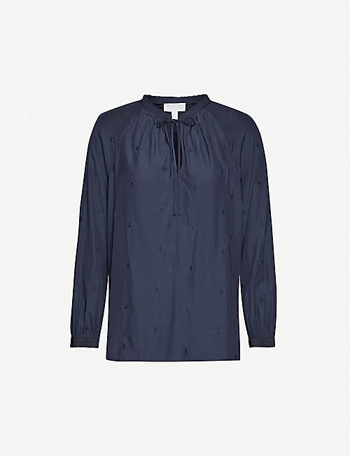 THE WHITE COMPANY 刺绣系颈 blouse