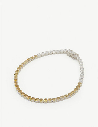 HATTON LABS: Tennis sterling silver, citrine and topaz chain bracelet